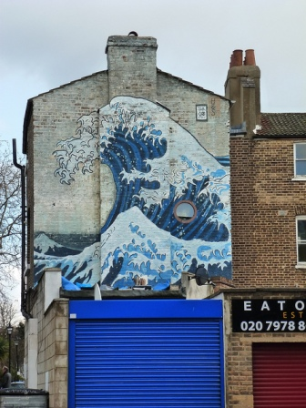 Hokusai Great Wave Mural - before the fire